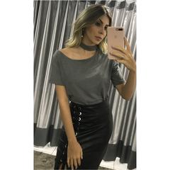 Blusa 1 Ombro com Gola Cinza Esmeral