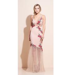Vestido Longo Aplicação de Flor Rosê Iorane