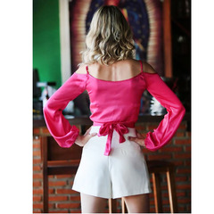 Blusa Cropped Detalhe Transpassado Pink Litt'