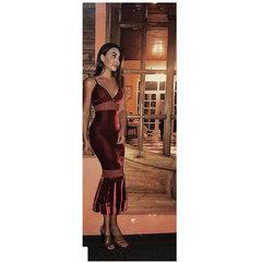 Vestido Midi Veludo Vinho Zen