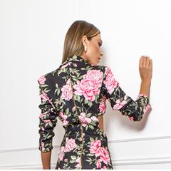 Blazer com Recorte na Frente Floral Skazi
