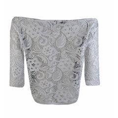 Blusa Cropped Guipir Branco B.Boucle