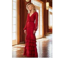 Vestido Longo com Babados Vermelho Iorane