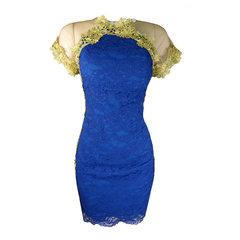 Vestido Aplicação Renda Azul Lore