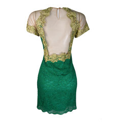 Vestido Aplicação Renda Verde Lore