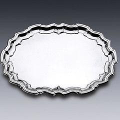 Bandeja de Metal Oval Espelhada em Prata - 36x29x2cm - Wolff - 82202