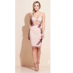 Vestido Aplicação Flor Rosê Iorane
