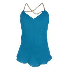 Blusa Lisa Verde com Corrente Calf