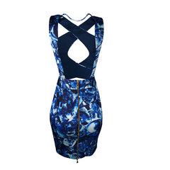 Vestido com Detalhe Cruzado Azul Agilità