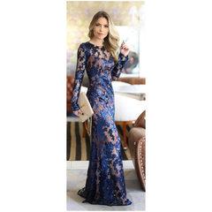 Vestido Longo Paetê Azul Marinho Litt'