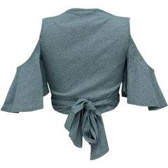Blusa Cropped Faixa Canelado Cinza Esmeral