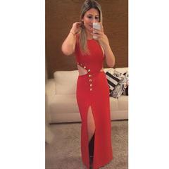 Vestido Longo com Botõe e Fenda Vermelho Alucci