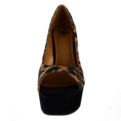 Sandália Peep Toe Onça Macro Fashion Premium