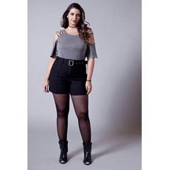 Short Cotton Denise com Cinto Preto Esmeral Extra