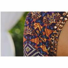 Vestido Longo com Pedras Estampado Pop Couture