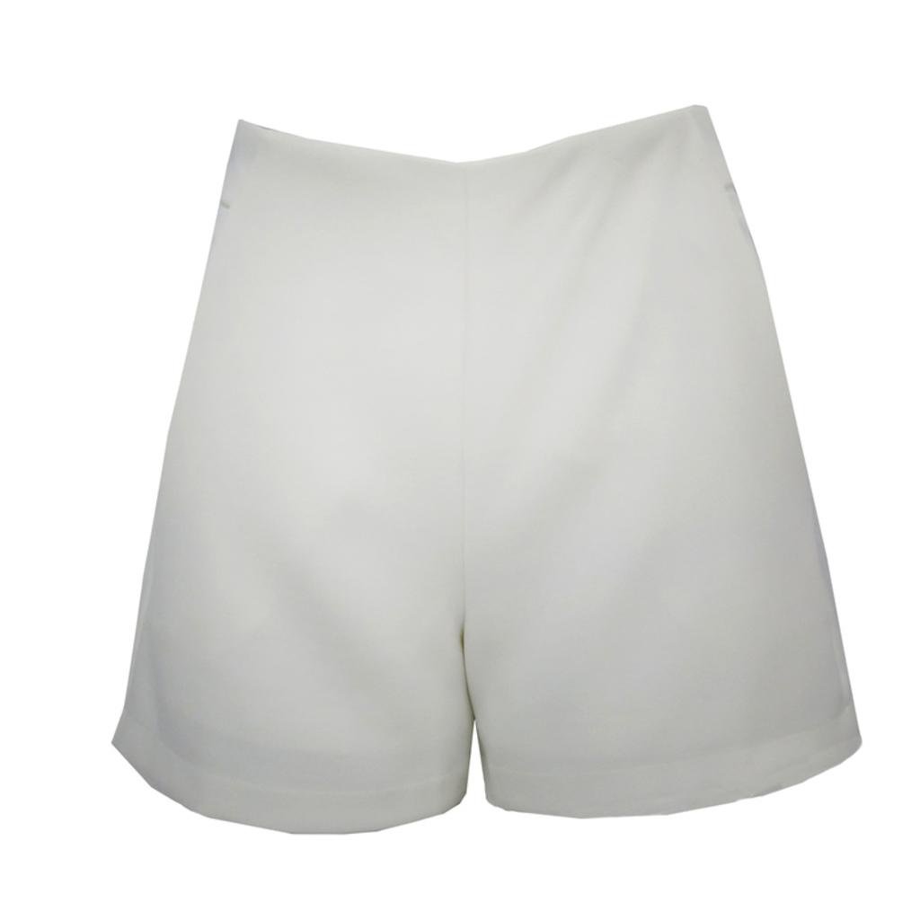 Short Cintura Alta Crepe Off White Esmeral