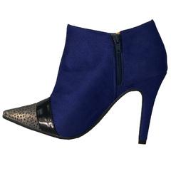 Ankle Boot Veludo Guepard Azul Zatz