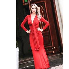 Vestido Longo Nó Vermelho Nathi Faria