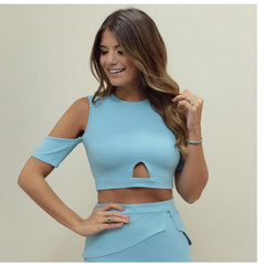 Blusa Cropped Recortes Azul Lou Bucca