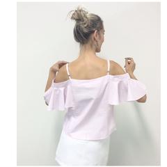 Blusa Regata Algodão Listrada Rosa Esmeral