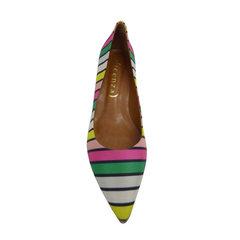 Scarpin Salto Baixo Listras Multicolor Vicenza