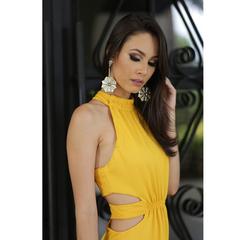 Vestido Longo Crepe Abertura Amarelo Iorane
