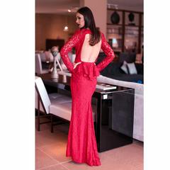 Vestido Longo Sereia Detalhe em Renda com Abertura Frontal Vermelho Anne Fernandes