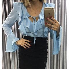 Blusa Flare com Babado Azul Claro She Likes