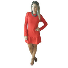 Vestido com Babado na Saia Vermelho Anne Fernandes