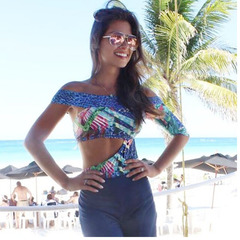 Body Top Recortes Estampado Alucci