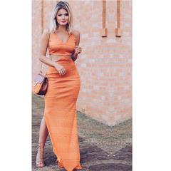 Vestido Longo com Recorte Laranja Alucci