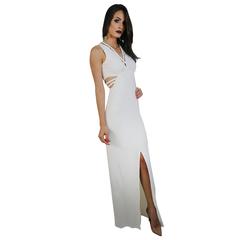 Vestido Longo Decote em V Detalhe Trançado Iorane
