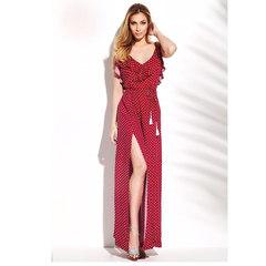 Vestido Longo Poá Vermelho N.N Moda