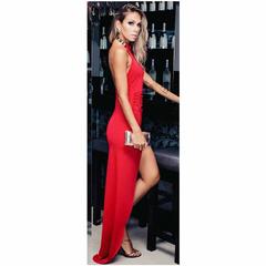 Vestido Longo Assimétrico Vermelho N.N Moda