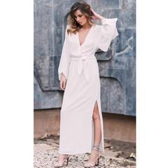Vestido Maxi Oriente Crepe Off White Artsy