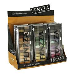 Paleta de Sombra 28 cores e 02 Pinceis Aplicadores Pontas Duplas Fenzza SO08 - Caixa com 12 Unidades