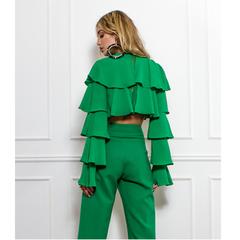 Blusa Cropped Babados Verde Skazi
