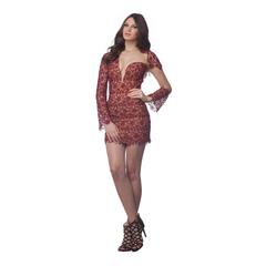 Vestido Renda Transparência Irregular Vinho Litt'