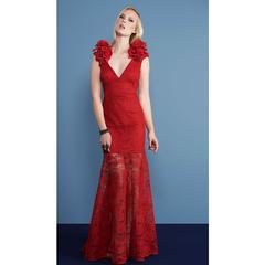 Vestido Longo Renda Vermelho Anne Fernandes