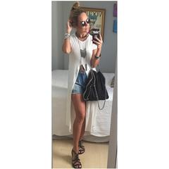 Camiseta Longa com Fenda Esmeral