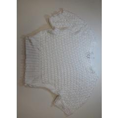 Blusa Tricot Rendada Branco Plataforma Vogue