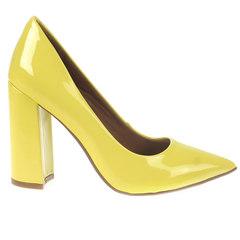 Scarpin Feminino Salto Grosso Amarelo Zatz
