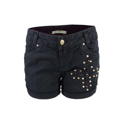 Short Jeans Preto Com Cruz Bordado Plataforma Vogue