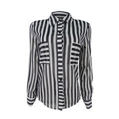 Camisa Listrada Black White Com Bolso Plataforma Vogue