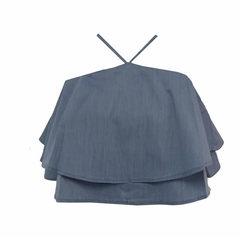 Blusa Cropped Babado Azul Esmeral