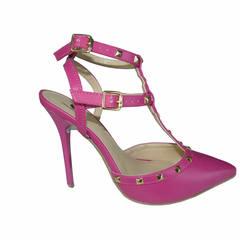 Sandália Feminina Spikes Pink Macro Fashion