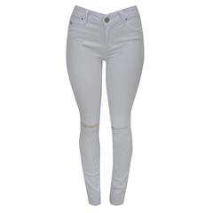 Calça Skinny Jeans Rasgada no Joelho Branco Esmeral