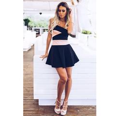 Vestido Bandagem Preto/Rosê N.N Moda