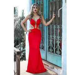 Vestido Longo Sereia Detalhe Tiras Vermelho Anne Fernandes