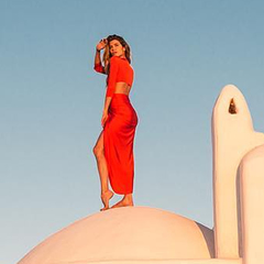 Vestido Longo Fenda Coral Iorane